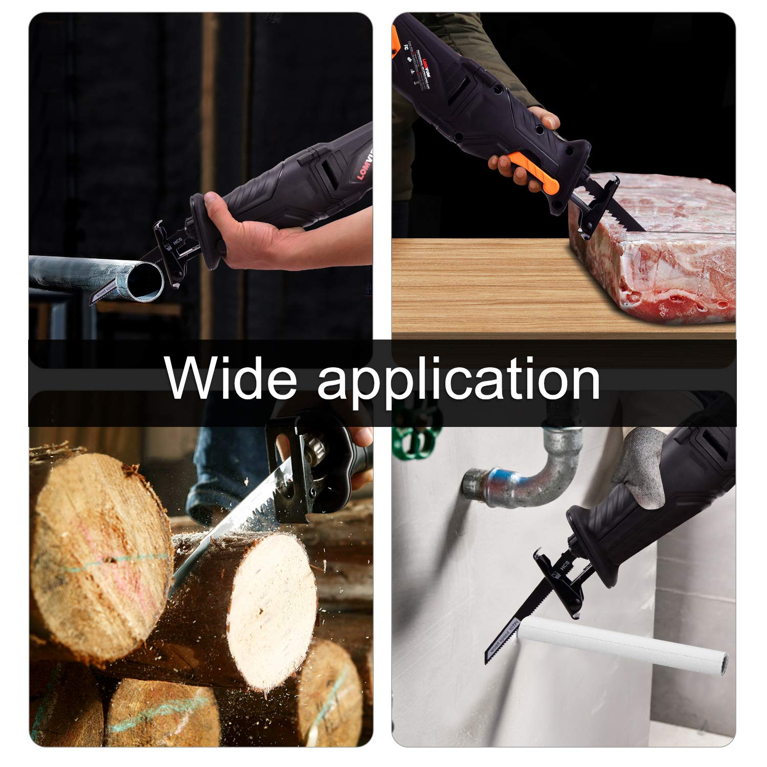 0~2800SPM Variable Speed Trigger 28mm and LED Lights 1-1//8 Sawzall with Anti-Vibration Handle Wood 4T and 10T HCS, Metal 18T BIM Stroke Length LOMVUM 7 Amp Corded Reciprocating Saw 4 Blades