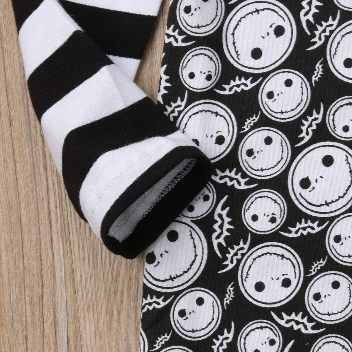 Newborn Infant Baby Girls Striped Long Sleeve Cartoon Bat Grimace Printed Dress