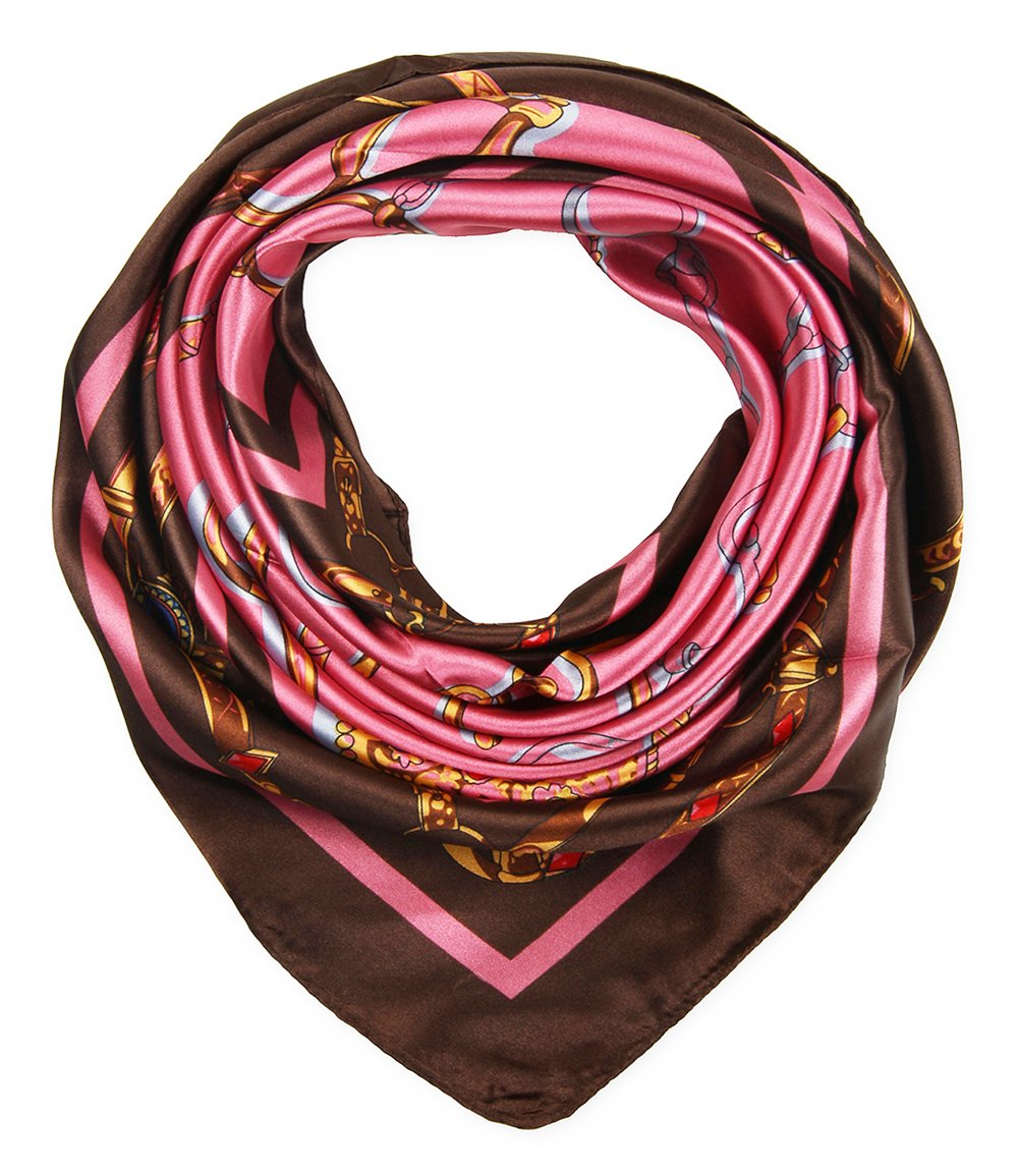 Women's Large Satin Square Silk Feeling Hair Scarf 35 x 35 inches Chains Coffee Pink by corciova