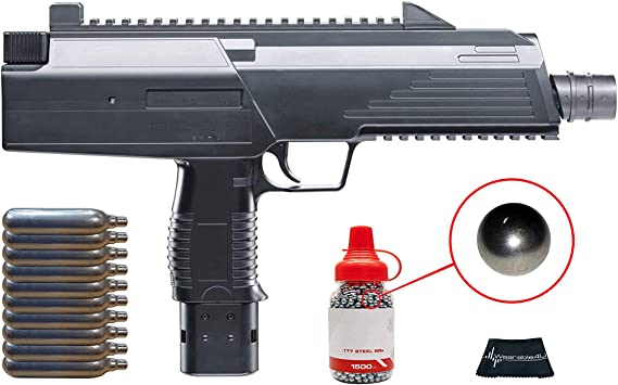 Umarex Steel Storm CO2 Semi-Automatic Air BB Pistol with Included CO2 12 Gram (10 Pack) and Pack of 1500 Precision Steel BBS and Wearable4U Cloth