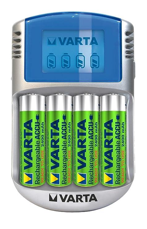 Varta LCD Charger - Cargador con cable USB y adaptador de 12 V (incluye 4 pilas AA recargables de 2400 mAh, precargadas)