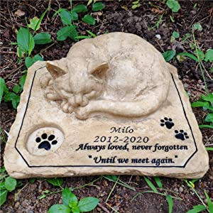"Personalized Cat Memorial Stones Garden Stones, Outdoor Pet Memorial Stones Grave Markers with A Sleeping Kitten On The Top, 8""×6.5""×3"""