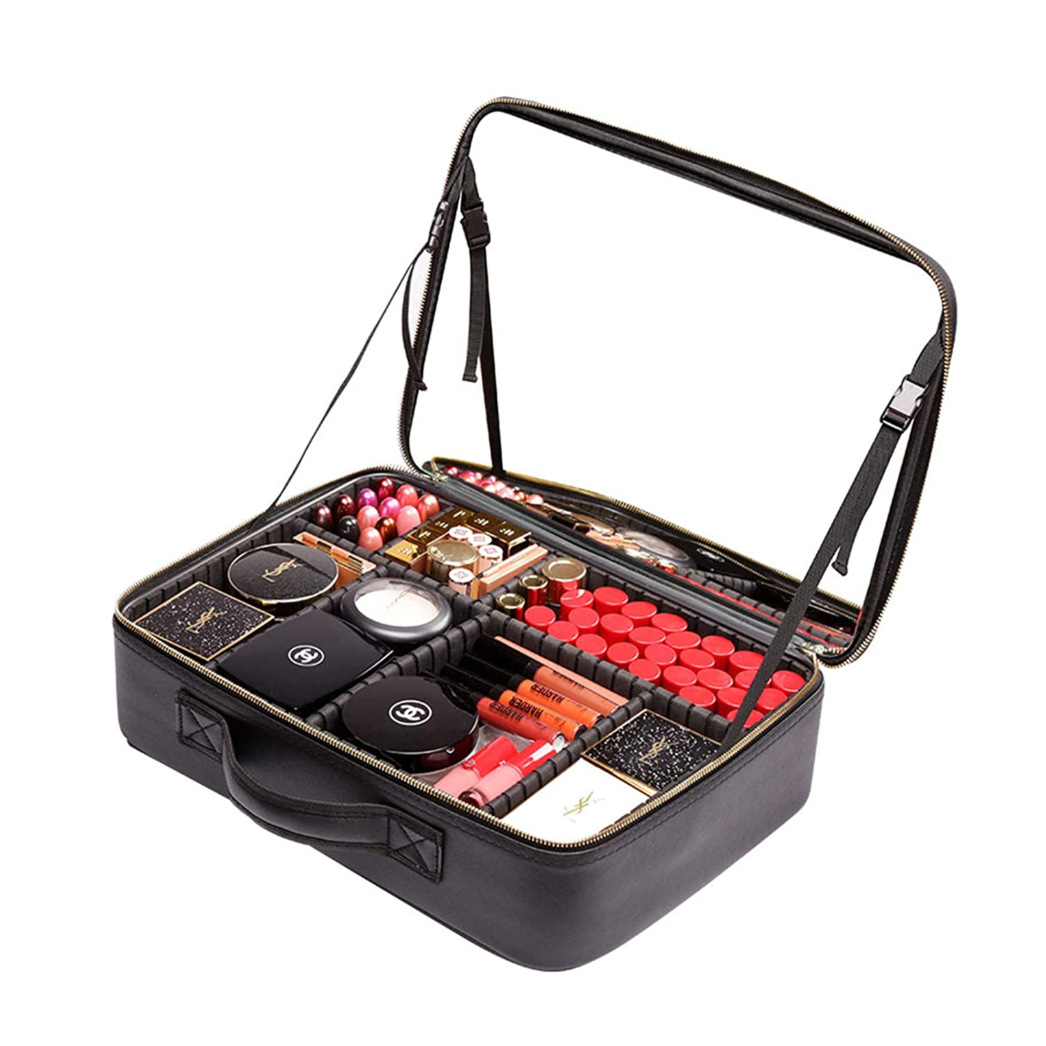 Rownyeon Makeup Train Case with Mirror Portable 14.5inch Cosmetic Organizer Professional Makeup Bag with Adjustable Dividers for Cosmetics Makeup Brushes and Toiletry Jewelry Digital Accessories