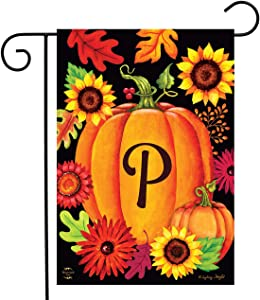 "Briarwood Lane Fall Pumpkin Monogram Letter P Garden Flag 12.5"" x 18"""
