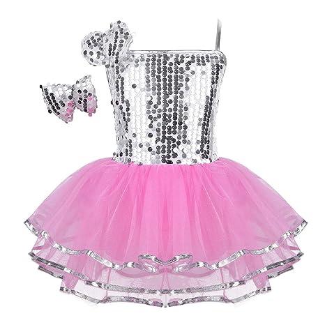 450dc7a69b098 IEFIEL Justaucorps de Danse Classique Ballet Tutu Paillettés sans Manches  Enfant Fille 2-12 Ans