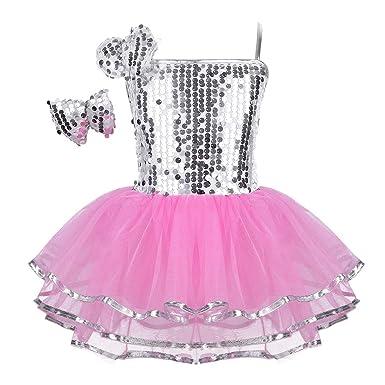 41c896918ea dPois Justaucorps de Danse Fille Enfant Classique Robe de Ballet Tutu  Paillettés Fleurs Jupe de Gymnastique