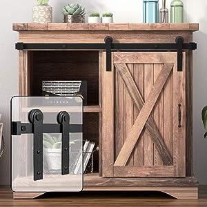 WINSOON 3FT Super Mini Sliding Barn Door Cabinet Hardware Kit for Single Door TV Stands Small Wardrobe Cabinets, I Shape Hanger (NO Cabinet)