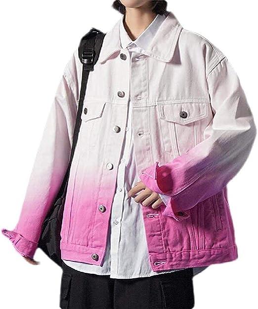 Mens Button Down Gradient Color Big & Tall Loose Denim Jacket Coat Outerwear