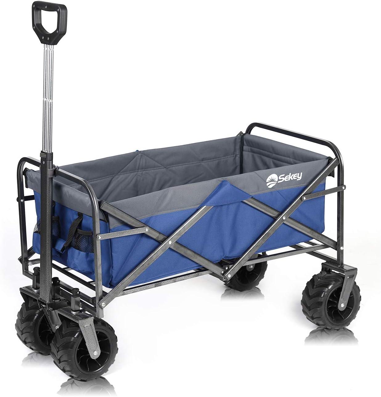 Sekey Carro Plegable Carro de Mano Carrito Playa Carro Transporte para Jardín hasta 120kg 360° Giratorio Apto para Todo Terreno, Gris Azul