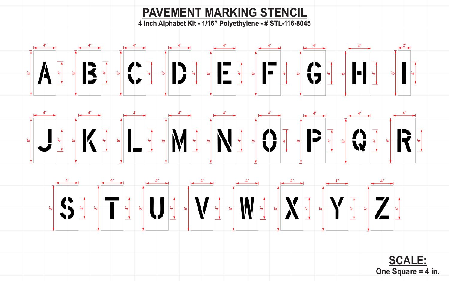 RAE - 4-inch ALPHABET KIT Plastic Letters Paint Stencils, 1/16'' - for use with any paint - STL-116-8045 by RAE Paint (Image #2)