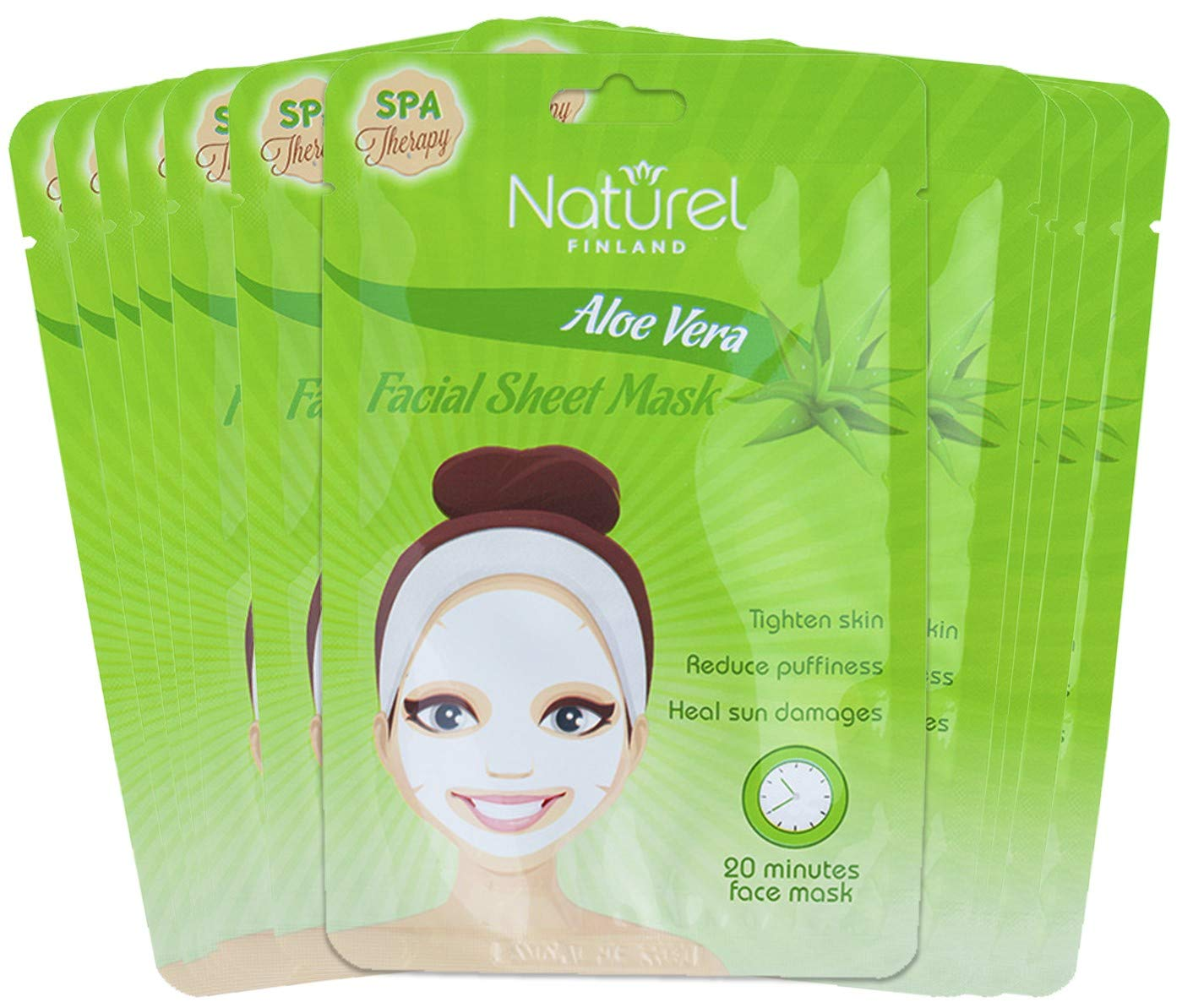 Korean Face Mask Sheet Aloe Vera 12 Mask Pack for Moisturizing, Cooling and After Sun