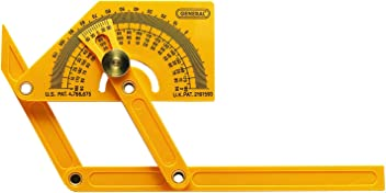 General Tools 29 Plastic Protractor and Angle Finder, Outside, Inside, Sloped Angles, 0° to 180°
