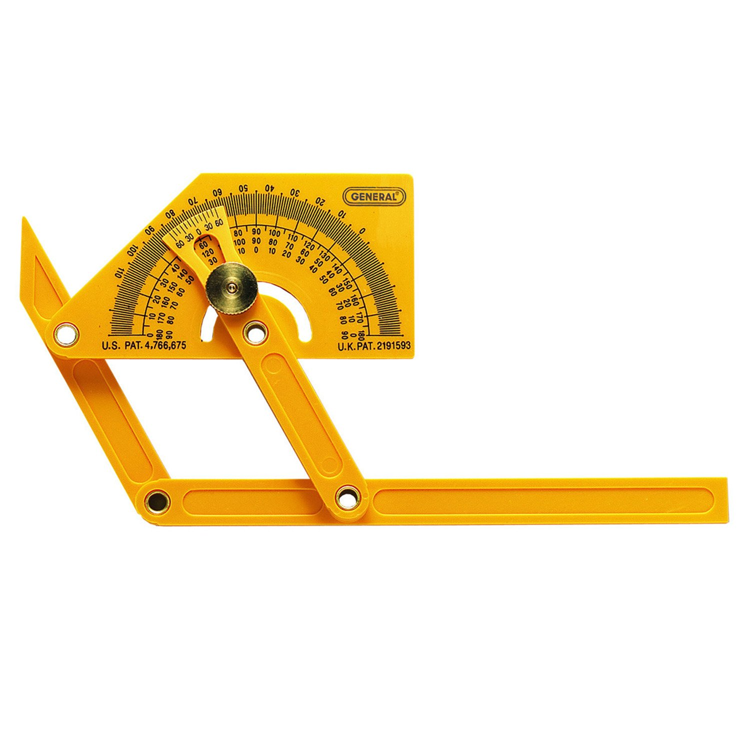 General Tools 29 Plastic Protractor and Angle Finder Outside Inside Sloped Angles 0° to 180°