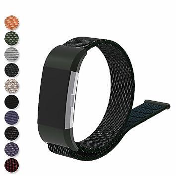 Feskio - Correa de repuesto para reloj inteligente Fitbit Charge 2, correa de nailon tejida, cierre de bucle, color Olive Green: Amazon.es: Deportes y aire ...