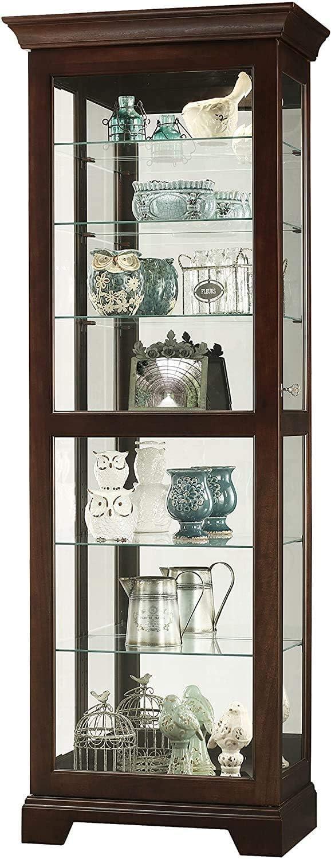 Howard Miller Martindale II Curio Cabinet 680-577 – Espresso Finish Home Decor, Six Shelves, Seven Level Display Case, Locking Slide Door, Halogen Light Switch