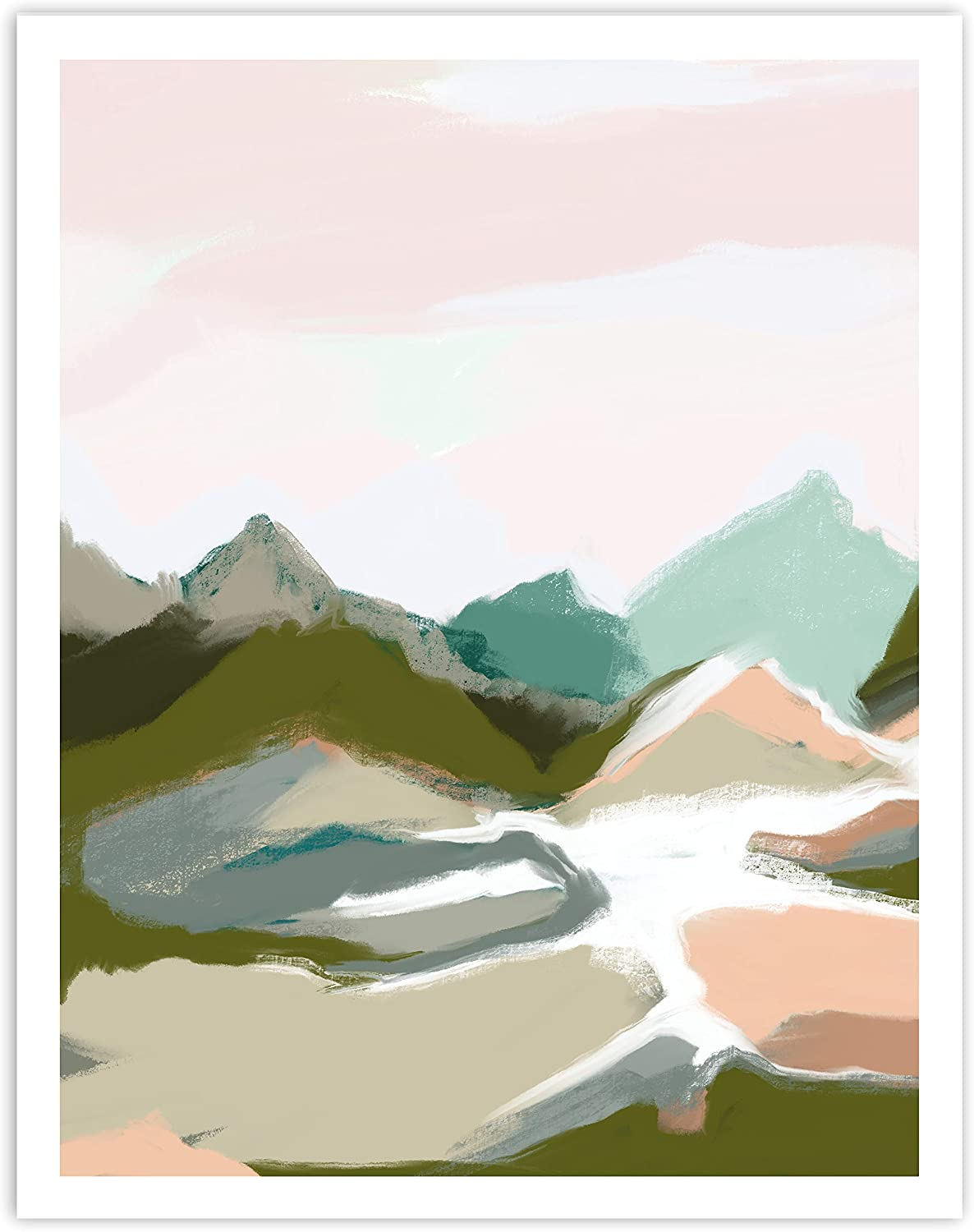 Printsmo Modern Neutral Earth Tones Landscape Art Print, Minimalist Art Prints for Home Decor, Abstract Mountains Boho Style Wall Art Poster, Bohemian Wall Decor, 11x14 Inches, Unframed