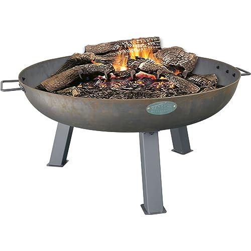 Harbour Housewares Cast Iron Garden Fire Pit Burner With Handles - 750mm Diameter