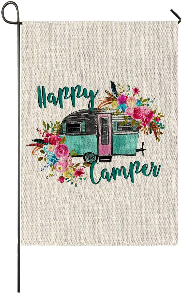 Faromily Happy Camper Garden Flag Vertical Double Sided RV Camping Summer Campers with Flowers Burlap Garden Yard Lawn Outdoor Decoration 12.5 x 18 Inch (Happy Camper)