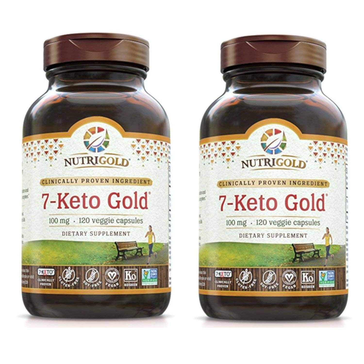 NutriGold 7-Keto Gold for Enhanced Metabolism and Healthy BMI (100 mg, 120 Veggie Capsules) Pack of 2