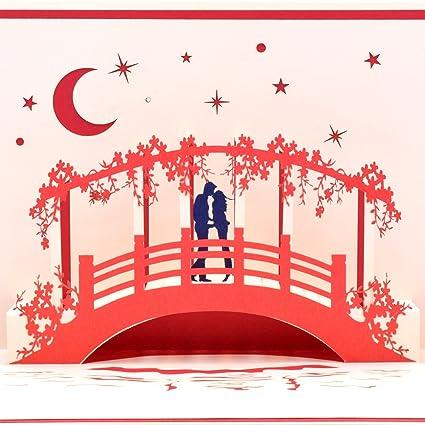 Yolopop Handmade Lovers On The Bridge Pop Up Greeting Card