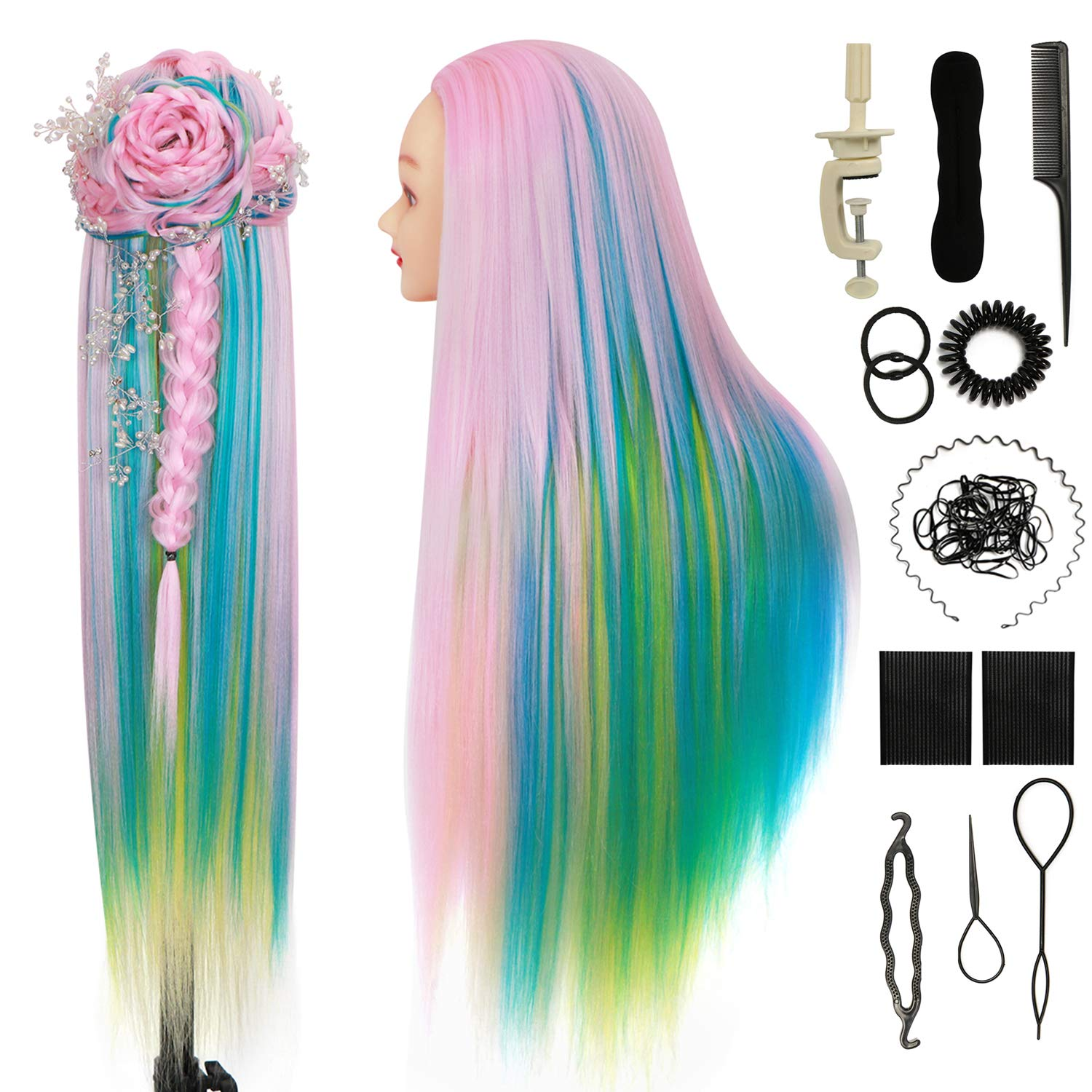 Cosmetology Mannequin Head With Hair Styling Head 30 Inches Doll Head For Hair Styling 100 Synthetic Fiber Hair Manikin Head Orguja Hairdresser Head To Practice Braiding With Clamp And Diy Braid Set Beauty Amazon Com