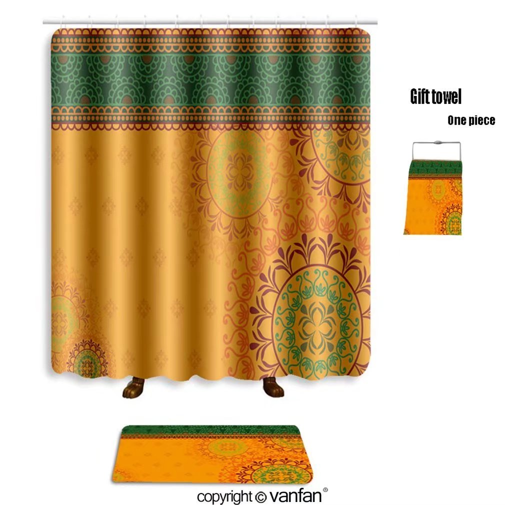 vanfan bath sets with Polyester rugs and shower curtain henna art inspired colourful background elabo shower curtains sets bathroom 72 x 72 inches&31.5 x 19.7 inches(Free 1 towel and 12 hooks)