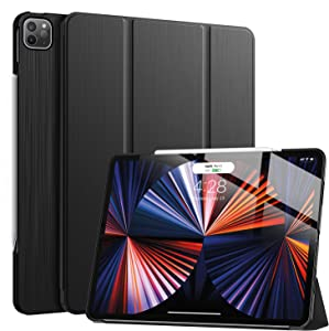 Soke New iPad Pro 12.9 Case 2021(5th Generation) - [Slim Trifold Stand + 2nd Gen Apple Pencil Charging + Smart Auto Wake/Sleep],Premium Protective Hard PC Back Cover for iPad Pro 12.9 inch(Black)