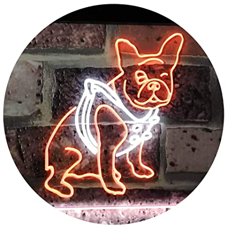 AdvpPro 2C French Bulldog Dog House Dual Color LED Neon Sign White & Orange 300mm x 210mm st6s32-j2126-wo