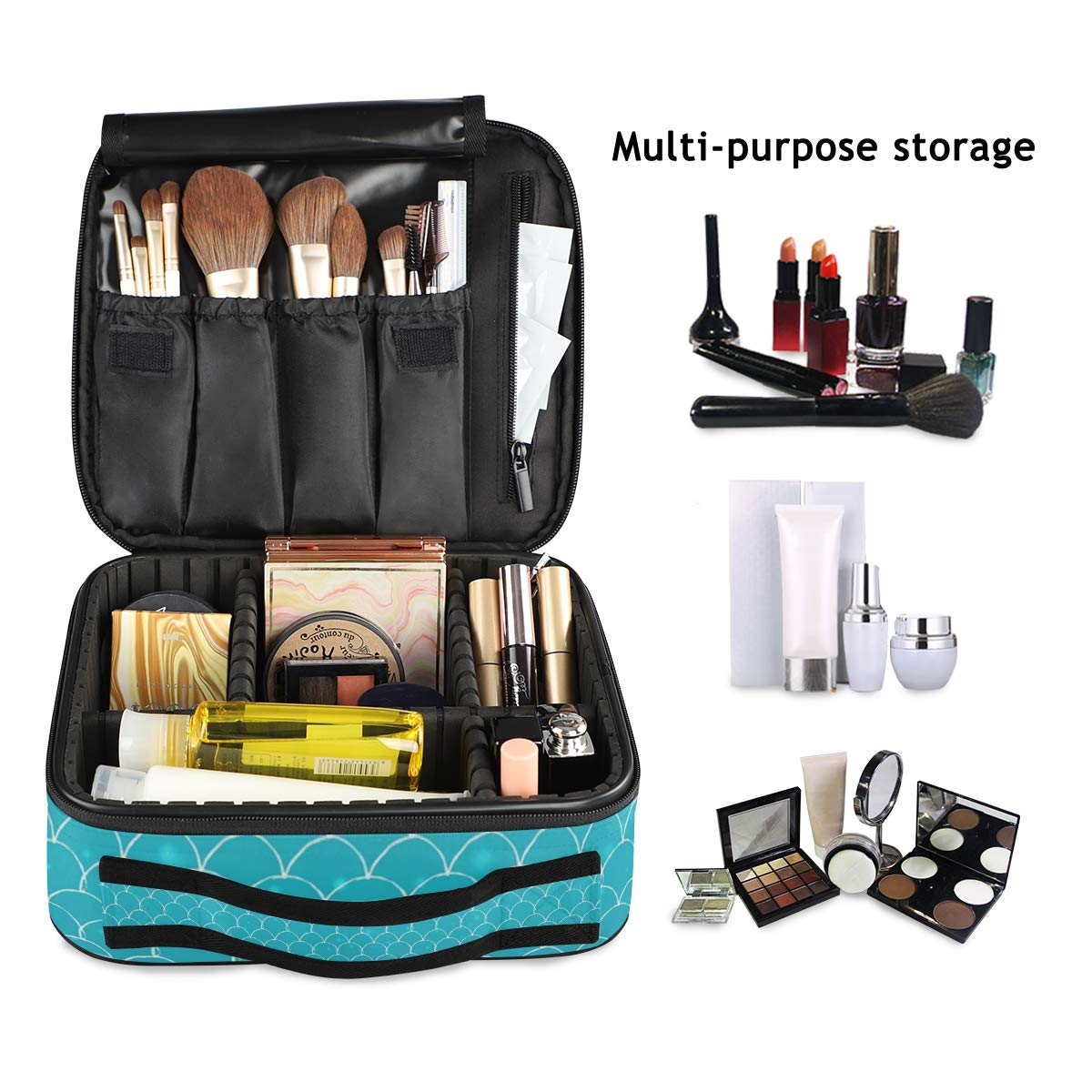 Mr.Lucien Mermaid Travel Makeup Train Case Scale Spray Blue Ocean Gradient Travel Cosmetic Case for girl Women Portable with Adjustable Dividers for Cosmetics Makeup Brushes Case 2020005 61yKT8txSCL