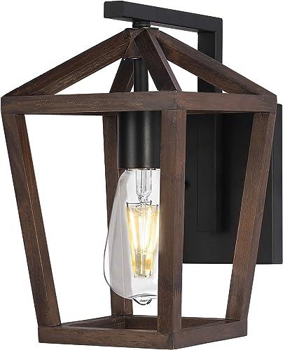Wood Farmhouse Lantern Wall Mounted Light Fixture
