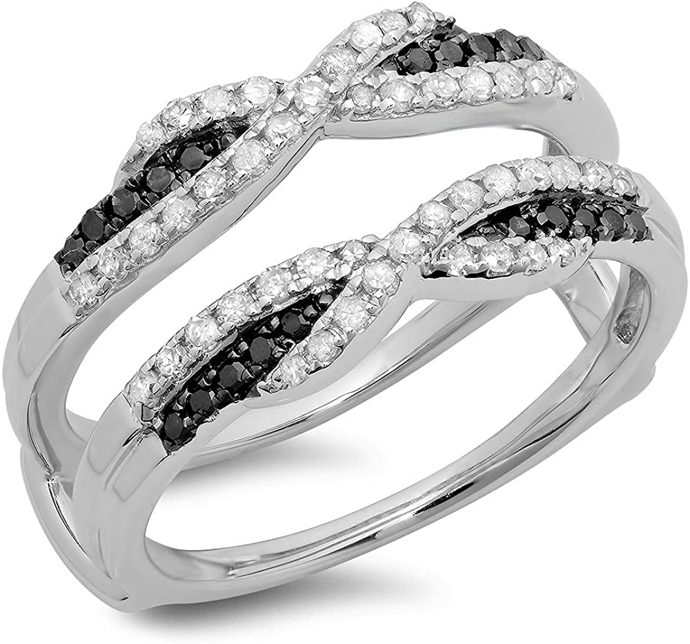 Dazzlingrock Collection 0.50 Carat (ctw) Round Black & White Diamond Ladies Swirl Anniversary Band 1/2 CT, Sterling Silver