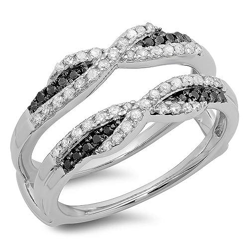 0.50 Carat (ctw) 10K Gold Round Black & White Diamond Ladies Swirl Wedding Guard Double Band...