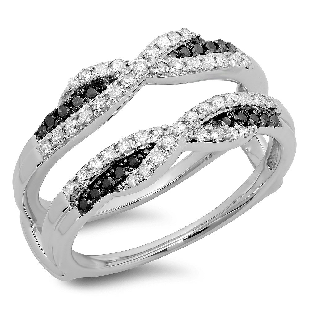 Dazzlingrock Collection 0.50 Carat (ctw) 14K Black & White Diamond Wedding Guard Double Band 1/2 CT, White Gold, Size 7.5