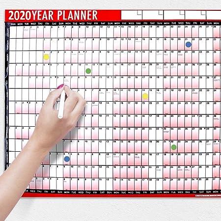 Calendario anual planificador de pared, para 2019, A1, 2 unidades ...