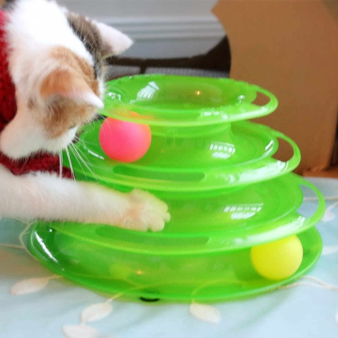 Green Happy-L Pet Supplies, Tracks Balls Cat Toy Interactive 3 Layers Tower (color   Green)
