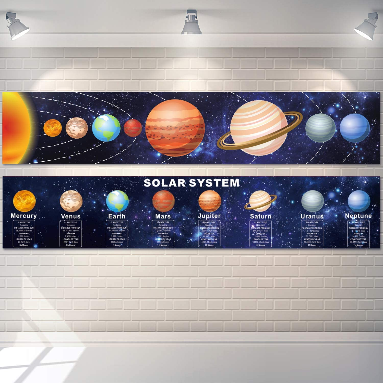 Solar System Poster Science Banner Educational Teaching Wall Decor Elementary and Middle School Classroom Decorations with 60 Glue Point Dots for Pre School, Student, Teacher