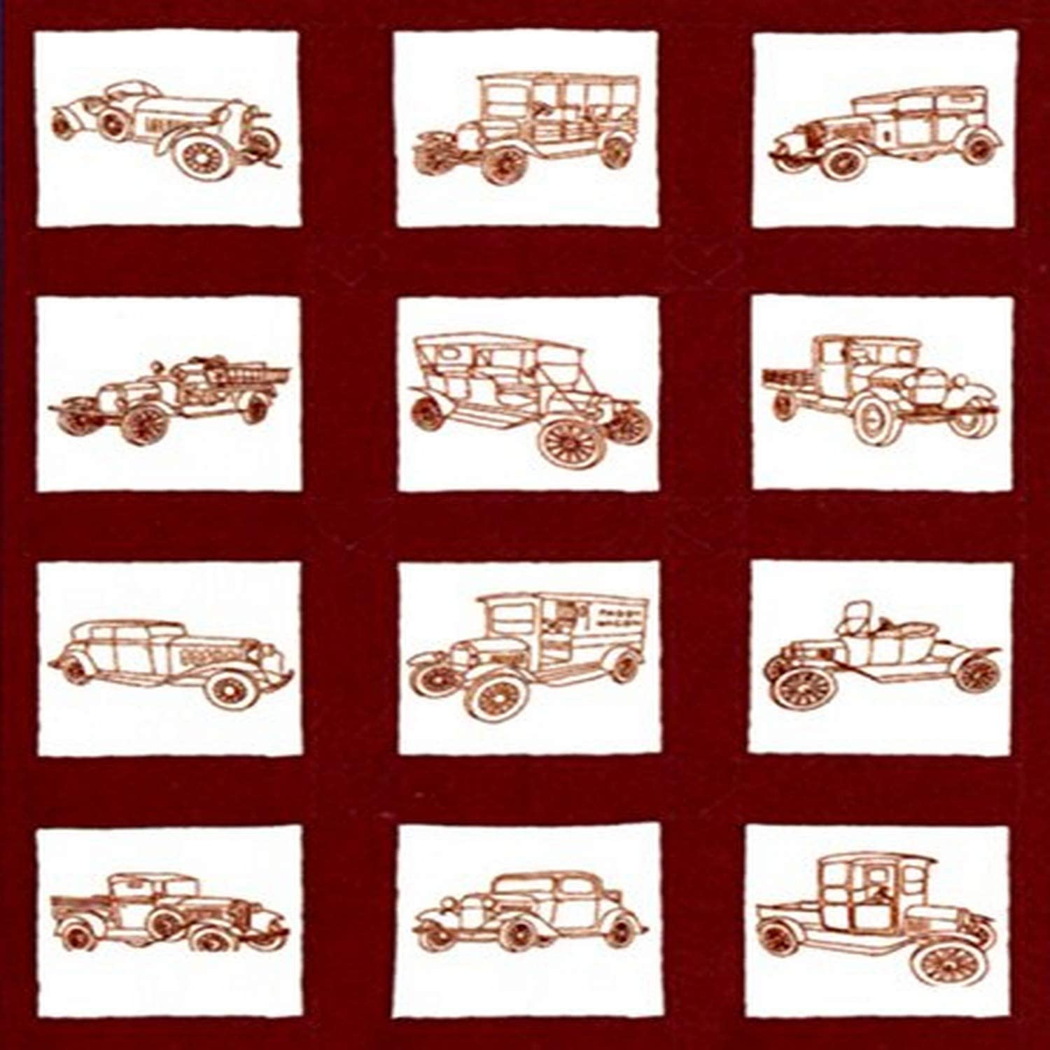 Pack of 12 Jack Dempsey 9 x 9-inch Vintage Vehicles Themed Stamped Quilt Blocks White