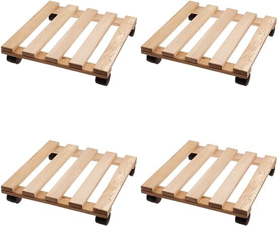 Set x4 Soportes con ruedas para maceteros 35 x 35 cm - Soportes cuadrados de madera con 4 ruedas para maceteros: Amazon.es: Hogar