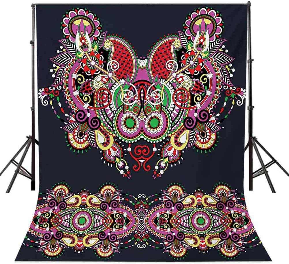 Evil Eye 8x10 FT Photography Backdrop Hamsa on Watercolor Brushstrokes Backdrop Amulet Floral Elements Background for Photography Kids Adult Photo Booth Video Shoot Vinyl Studio Props