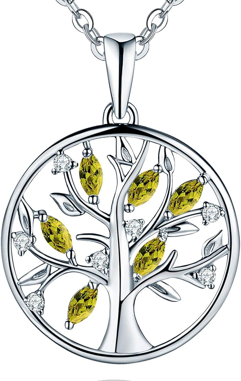 JO WISDOM Collar Colgante Arbol de la vida Plata de ley 925 Cristales AAA Circonita Mujer Joyería