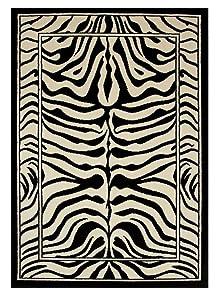 "The Rug House Alfombra Safari Animal Estampado Raya Cebra Blanco y Negro 120cm x 170cm (3 pies 11"" x 5 pies7)"
