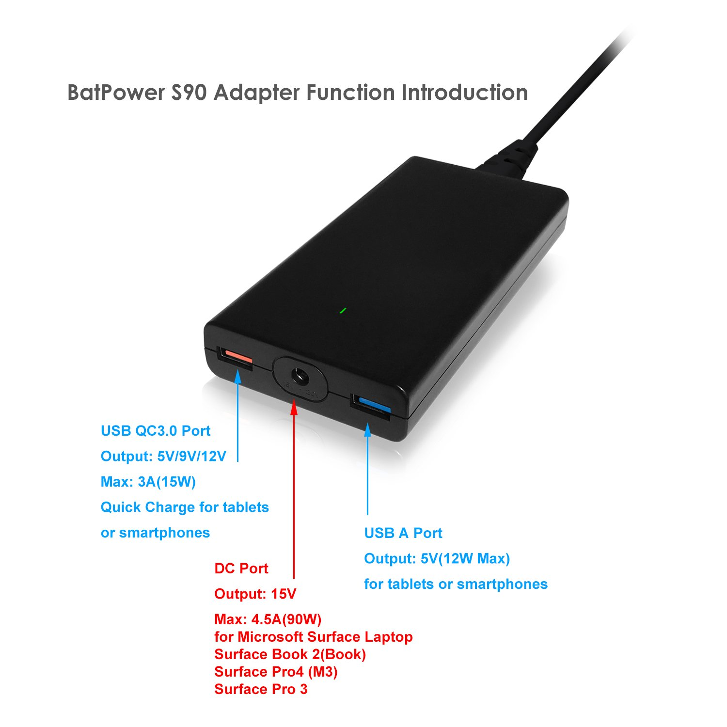 BatPower ProE 2 ES10 Portable Charger External Battery Power Bank for Surface Laptop, Surface Book, Book 2, Surface Pro 4 / 3 / 2 and RT, USB QC 3.0 Fast Charging for Tablet or Smartphone -148Wh by BatPower (Image #7)