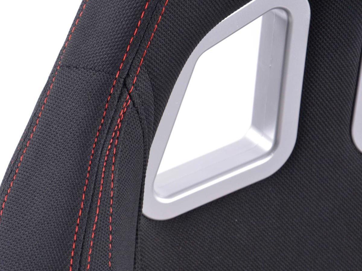 FK-Automotive sedili sportivi Seattle tessuto nero cucitura rosso
