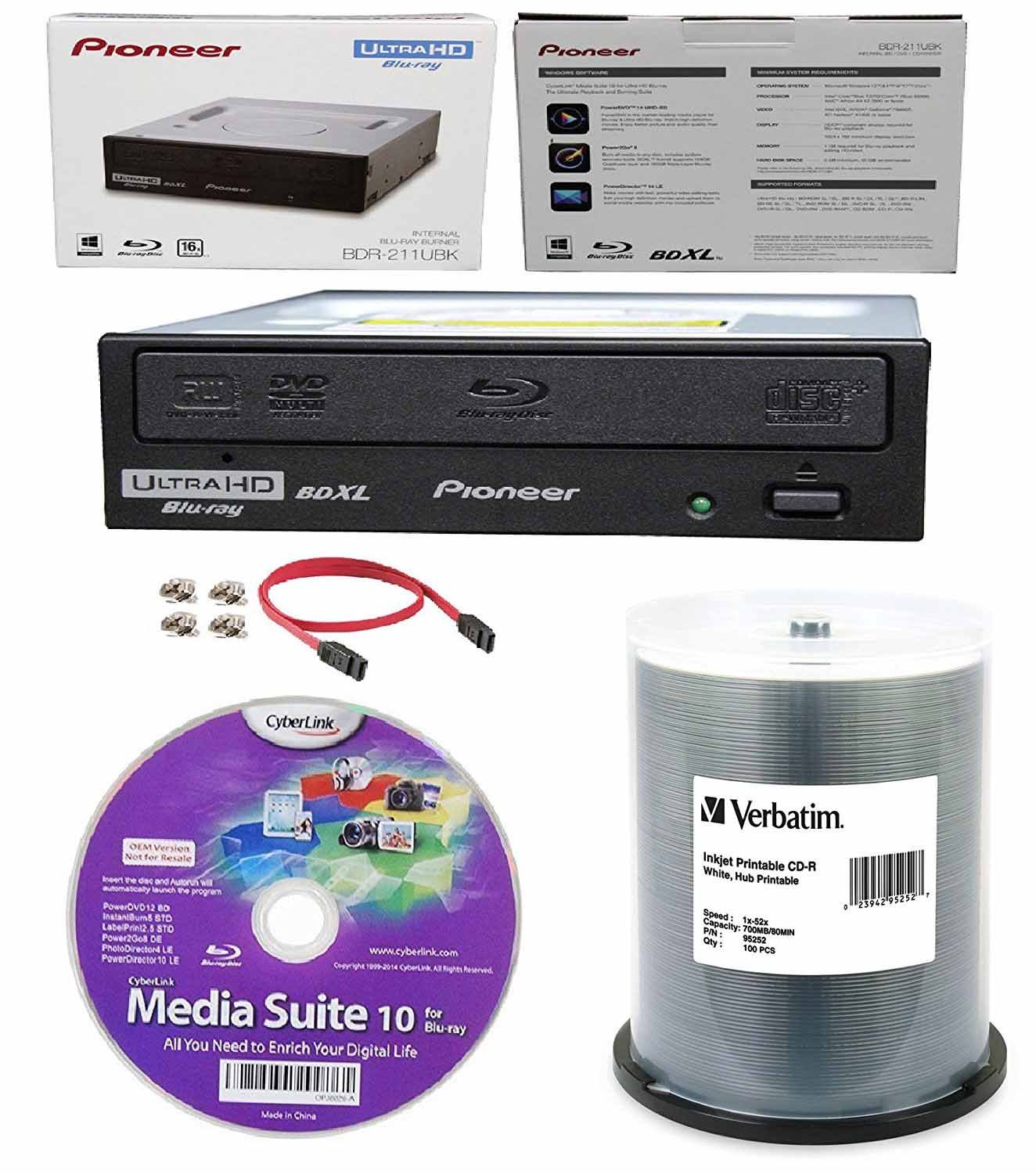 Pioneer 16x BDR-211UBK Internal Ultra HD Blu-ray BDXL Burner, Cyberlink Software and Cable Accessories Bundle with 100pk CD-R Verbatim 700MB 52X DataLifePlus White Inkjet, Hub Printable