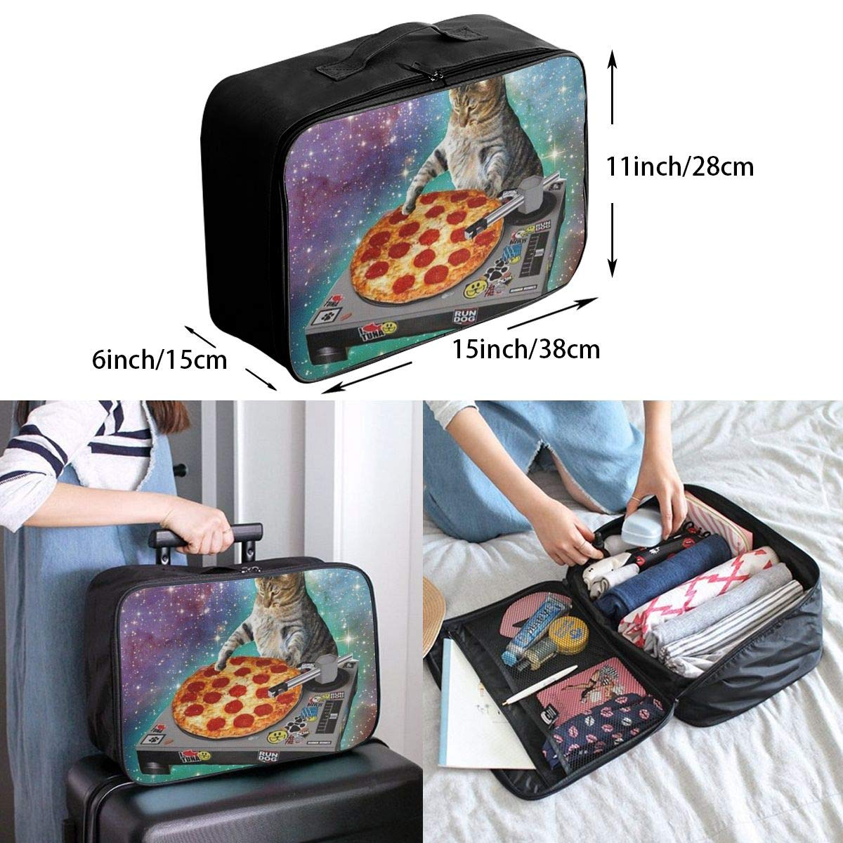 ADGAI Cat Take Pizza Canvas Travel Weekender Bag,Fashion Custom Lightweight Large Capacity Portable Luggage Bag,Suitcase Trolley Bag