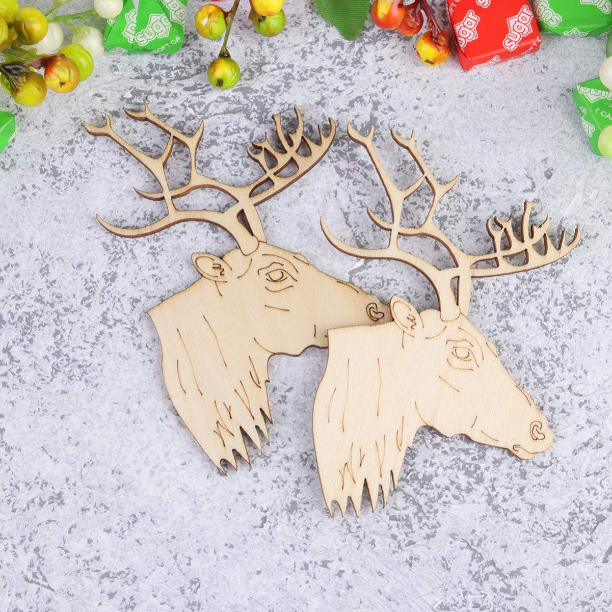 Amosfun 20 Piezas de Navidad sin terminar Cabeza de Reno Colgante de Madera Colgante DIY Etiqueta de Madera Pintada decoraci/ón de /árbol de Navidad Estilo a