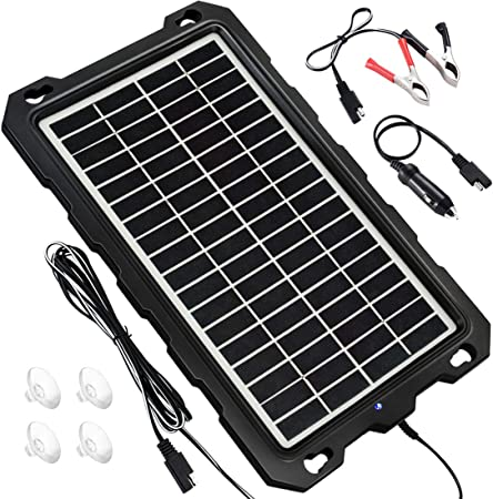 POWOXI Solar Battery Charger Car, 7.5W 12V Solar Trickle Charger for Car Battery, Portable and Waterproof Solar Battery Maintainer, High Conversion ...