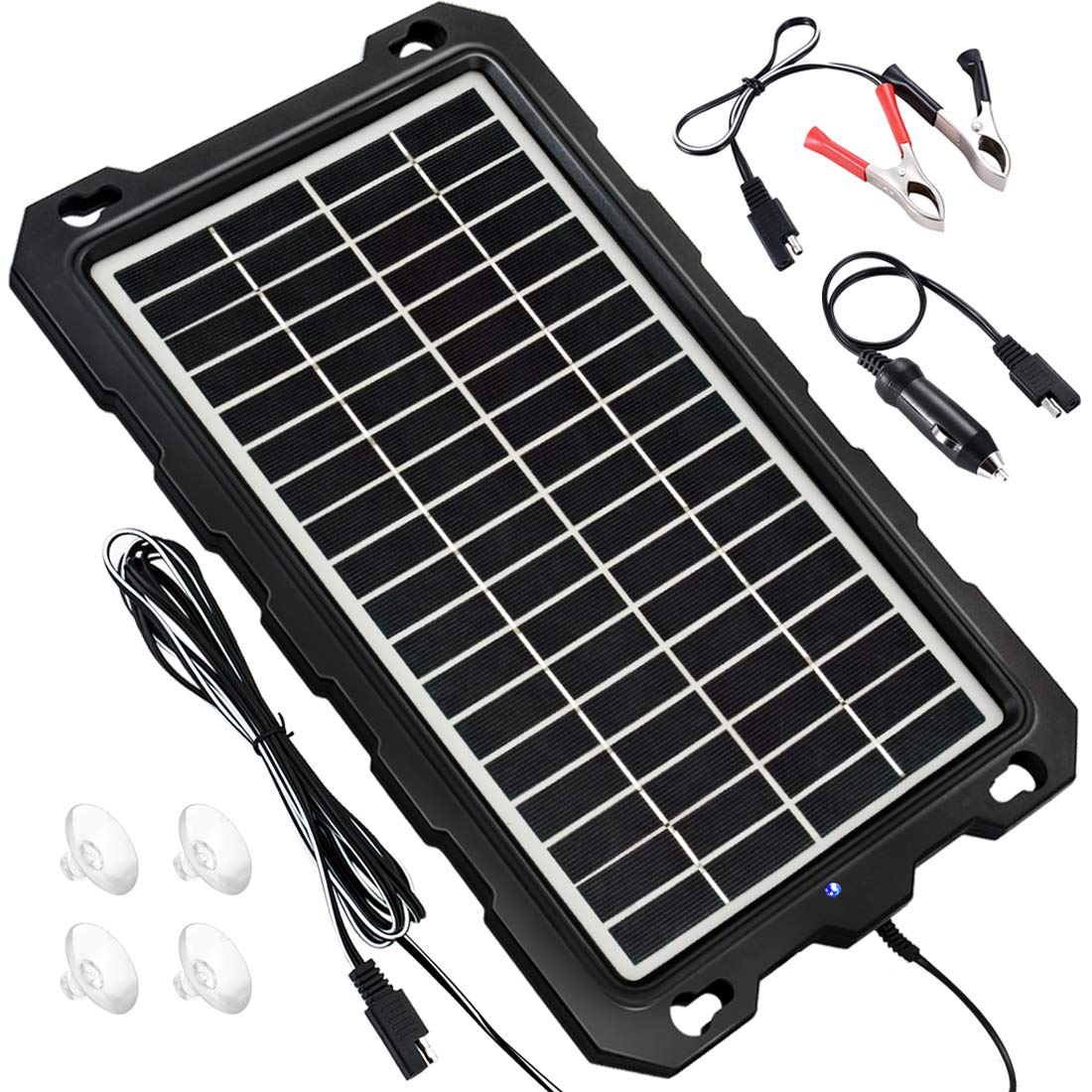 POWOXI Solar Battery Charger Car, 7.5W 12V Solar Trickle Charger for Car Battery, Portable and Waterproof Solar Battery Maintainer, High Conversion Polysilicon Solar Panel car Battery Charger for by POWOXI