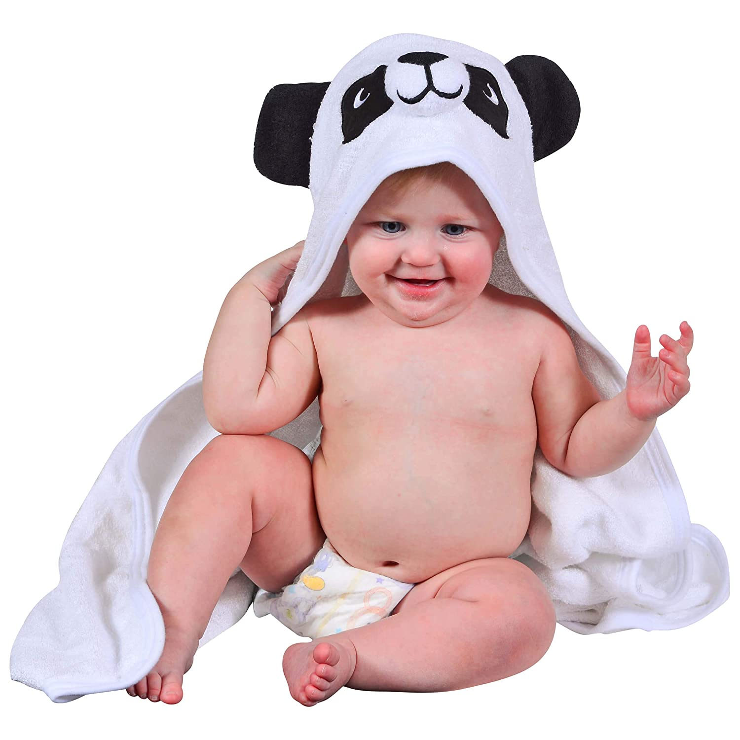 Hooded Baby Towel and Washcloth - Soft and Snuggly to Keep Your Child Warm - Made from Fast Drying Bamboo - Adorable Extra Large Towels with Hood for Newborns, Infants, Kids - Includes Laundry Bag Calpico Creations