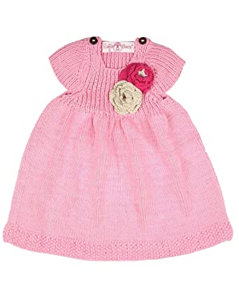8c90aca9b Amazon.com  RuffleButts Baby-girl s Handmade Knit Dress Pink (6-12 ...